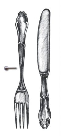 deursticker mes en vork