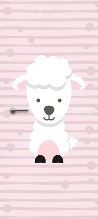 deursticker-kinderkamer-schaap-roze
