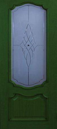 Klassieke deur met glas – groen